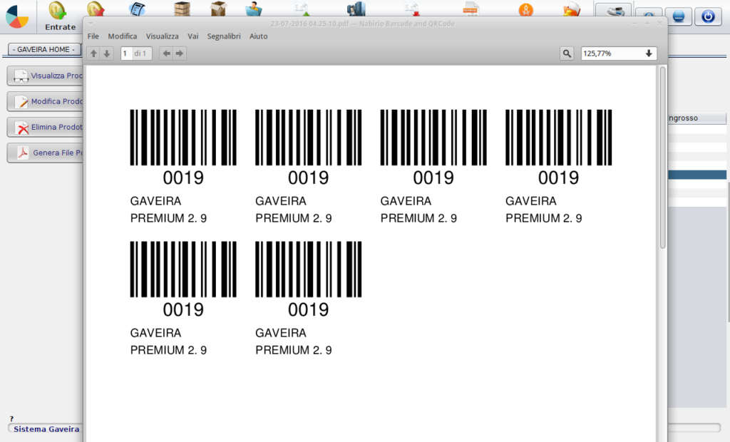 etichette con codice a barre nome prodotto e modelllo