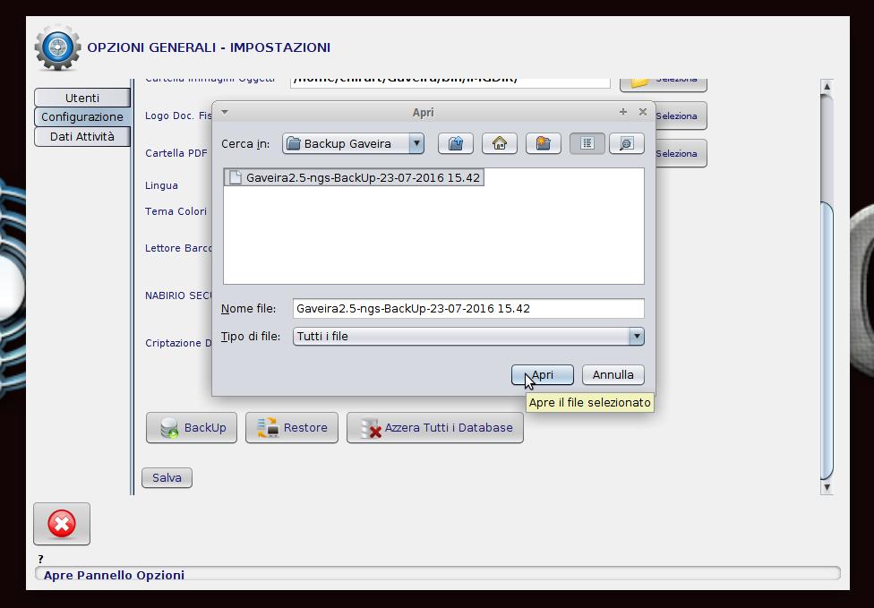 selezionare il file di back-up desiderato per il ripristino di gaveira