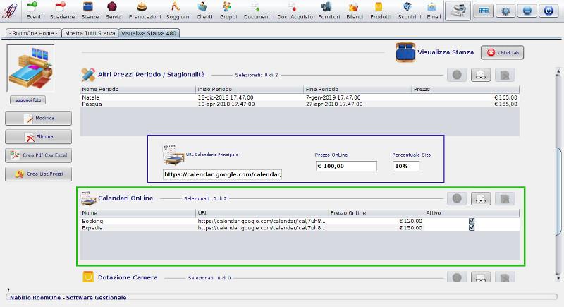 impostazioni camera nabirio roomone per aggiornare le disponibilita in modo automatico tramite icalendar sincronizzazione calendari online booking expedia OTA
