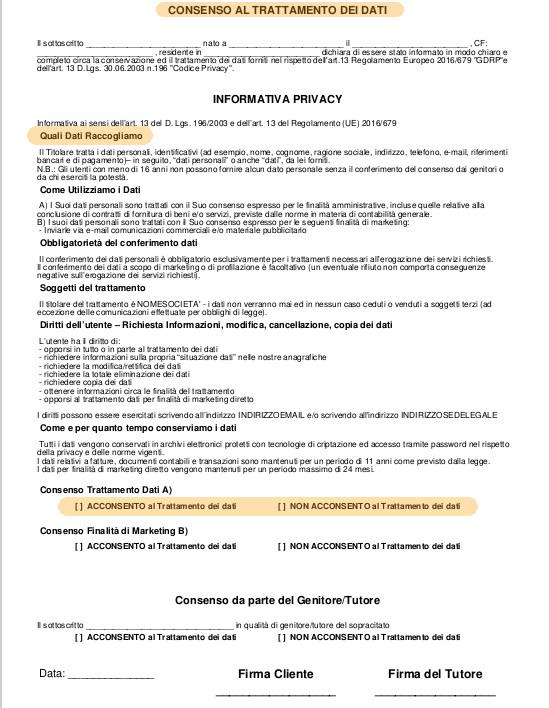 modello pdf consenso trattamento dati secondo gdpr europeo