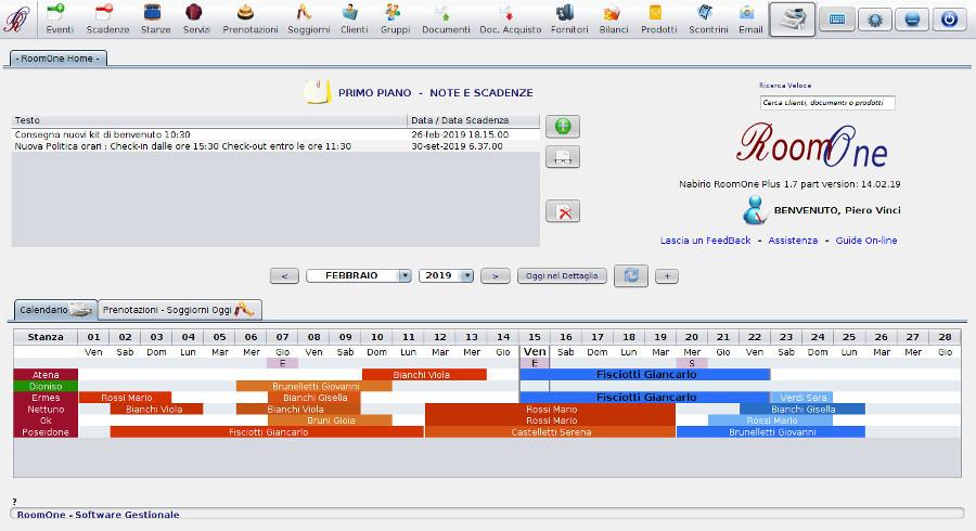 Calendario Prenotazioni Hotel Excel.Caratteristiche E Funzionalita Software Gestionale Nabirio